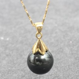 Wholesale Sea Shell Mother Pearl Pendant - Wedding engagement anniversary clothes accessories Lustrous 12 MM blackd sea shell pearl pendant necklace with chain 18inch 45cm long