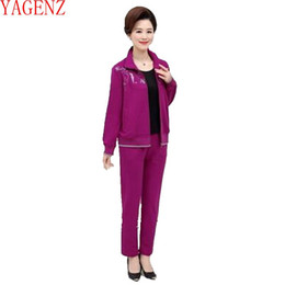 Wholesale New Age Clothing - YAGENZ 2017 The spring clothes Large size Sporting suit set Leisure middle-aged 2Piece set Women new high-grade Tracksuit KG436