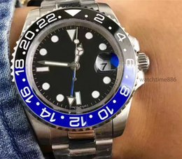 Wholesale Bezel Blue Black Ceramic Watches - 2018 New luxury brand GMT Ceramic Bezel Mens Mechanical Stainless Steel Automatic Movement Watch Sports Self-wind Watches Roless Wristwatch