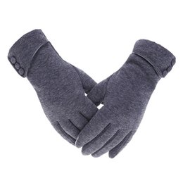 glove phone Promo Codes - Women Winter Warm Gloves Touch Screen Phone Windproof Button Thick Gloves Velvet Cashmere Full Finger Warm Touchscreen