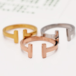 Wholesale Color Fade Ring - Titanium Steel Brand rose Gold Silver Color Classic T finger love Rings for Woman Man Gift Never Fade