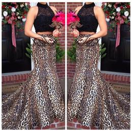 d44de7d84e leopard print gowns Coupons - 2018 Two Piece Black Lace Top Sexy Leopard  Print Custom Prom