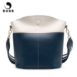 Wholesale Leather Traveling Bags - SUDS Brand Women Bag Genuine Leather Bucket Shoulder Bags Female Designer High Quality Traveling Crossbody Bags Bolsa Feminina