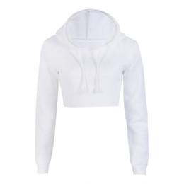 Wholesale Wholesale Crop Sweatshirts - New Fashion Women Casual Crop Tops Long Sleeve Pullover Hooded Solid Hoodies Sweatshirt 2018 Spring Autumn