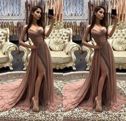 2019 robe de soirée marron sexy Mode Deux Pièces Longues Robes De Soirée Marron Sweetheart Sans Manches Une Ligne Longueur De Plancher De Soirée Robes Formelle Femmes Occasion Robe robe de soirée marron sexy pas cher