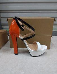 2019 zapatos de tacones de sexo 2018 New Classic paris fashion platform zapatos de mujer sex orange party shoes Ankle-Wrap super high heels zapatos de boda envío gratis zapatos de tacones de sexo baratos