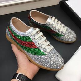 2019 кроссовки с блестками Дизайнерская Повседневная обувь falacer sneaker обогащена сверкающими кристаллами Glitter Sylvie Web sneaker для мужчин женщин. дешево кроссовки с блестками