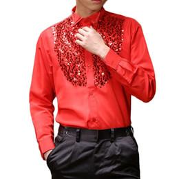 Männer tanzhemden online-Mens Latin Dance Kostüme Baumwollmischung Pailletten-Shirt Langärmelige Männer Ballroom Dance Kleider Moderne Tango Rumba Tanzen Kleidung