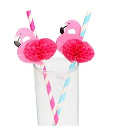 Wholesale Cup Party Supplies - Creative 6*197mm Flamingo Paper Mugs Straws Wedding Decorations Party Event Supplies Bar Tools for Tumbler Cups
