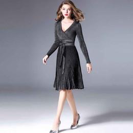 33ea17f196d5 4 Colors 2018 New Autumn Long Dresses V Neck Long Elegant Dress Pleated Dresses  Jersey Autumn Jumpsuit Bottled Clothes