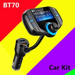 Kit de voiture BT70 Transmetteur FM Modulateur QC 3.0 Chargeur Rapide Mains Libres Kit de voiture Bluetooth Radio Lecteur MP3 Double USB avec fente pour carte AUX TF BC06 ? partir de fabricateur