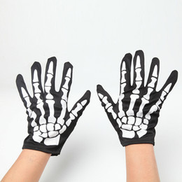 black gothic gloves Promo Codes - Halloween Black Punk Gothic Rock White Skeleton Short Sleeve Gloves Arm Warmers
