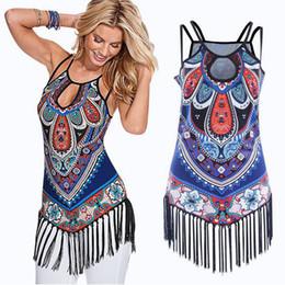 Más el tamaño de la moda étnica online-2018 Mujeres Tassel Tank Tops Summer Graphic Print Mujeres Ethnic Halter Tops Fashion Casual Vest Camisetas Plus Size S-XL Ropa