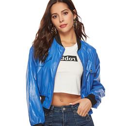 longitud ocasional de la chaqueta de la chaqueta Rebajas Mujeres Azul Cremalleras Longitud corta Cuello alto Chaquetas de moda Femme Manga larga Casual Contraste de color Chaqueta 2018 Otoño Sport Top