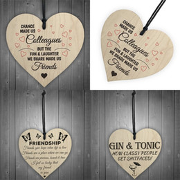 Wholesale Money Tree Decoration - Heart Shaped Ornament Home Furnishing Christmas Tree Printing Woodiness Small Pendant Love Arts Crafts Wood Free Shipping 1 5ls V