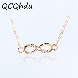 Wholesale long infinity necklace - 1PC Infinity Symbol Pendant Necklaces for Women Choker Lucky Number Eight Geometric Silver Gold Color Long Chain Necklace