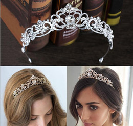 Wholesale platinum hair accessories - European Bridal Crowns Hairbands Wedding Tiaras Headbands Crystal Girls Birthday Party Princess Diadem Crown Wedding Veil Hair Accessories