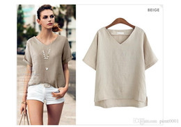 Wholesale Fashion Linen Blouses - PT85 plus size flax t shirt women summer batwing sleeve sexy v-neck blouse cropped