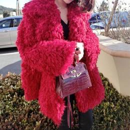 Wholesale stylish women winter coats - Stylish Red Curly Long Hairy Shaggy Faux Lamb Wool Fur Coat 2016 Winter Women Lapel Faux Fur Jackets Loose Mid Long Outerwear