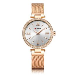 Wholesale mesh display - CURREN Women Fashion Quartz Watches Ultra Thin Mesh Stainless Steel Wristwatch Analog Display 6colors by DHL