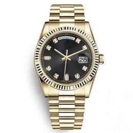смотреть черные мужчины золотые Скидка Часы с лимитированным золотом из нержавеющей стали 18К Дата твердый браслет Сапфир 40мм Человек Daydate Президент Черные наручные часы Спортивные мужские часы