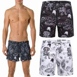 Wholesale Man Brief Mesh - Men Swim Trunk Beach Shorts Swimming Short pants Printed Graphic Mesh Brief Drawstring Waistband Zip Closed Pockets