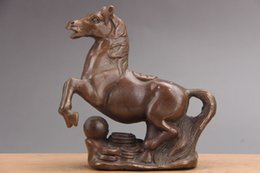 Wholesale collectible horse statues - Exquisite Chinese Hand Carved Brass horse statue