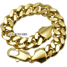 Wholesale 18k Gf - B147 18ct yellow gold GF curb rings link chain solid mens womens bracelet bangle jewelry