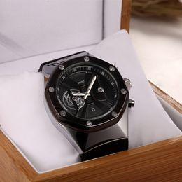 Nueva marca de los hombres de calidad superior caliente de lujo reloj de cuarzo de moda casual de acero inoxidable reloj militar envío gratis desde fabricantes