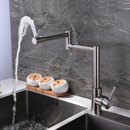 Wholesale Extended Mounts - Free shipping SUS304 stainless steel 360 rotate folding extend single handle hot&cold water mixer taps kitchen sink faucet