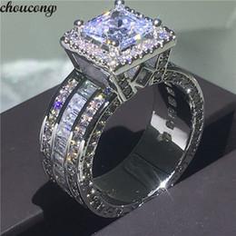 оптовые кольца стерлингового серебра Скидка choucong старинные суда кольцо стерлингового серебра 925 Принцесса вырезать AAAAA cz камень обручальное обручальное кольцо кольца для женщин ювелирные изделия подарок