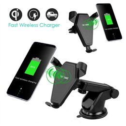 Wholesale Fast Car Styling - Qi Wireless Fast Charger Car Mount Phone Holder Air Vent Style Wireless Car Charging Pad For iphone 8 X Samsung S8 plus Note 8