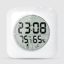 relógio pendurado Desconto Branco À Prova D 'Água Digital Chuveiro Do Banheiro Pendurar Relógio Display LCD Ventosa Wall Tabel Relógio Temperatura Termômetro Higrômetro AAA626