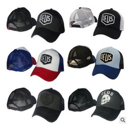 Wholesale black trucker - New Deus Ex Machina Baylands Trucker Snapback Men Women Mesh Sports Hat Hiphop God Pray Ovo Cap Black