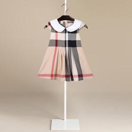Wholesale regular hair - Children's Garment 2018 New Pattern Lapel School Wind Short Sleeve Fold Lattice Skirt Pure Cotton Dress A A-line Skirt Generation Hair