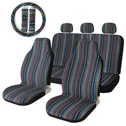 Argentina Las fundas de los asientos de coche Set High Quality Stripe Colorful Seat Cover Baja Blue Saddle Blanket Weave Fundas de asiento universales del cubo con el volante Suministro