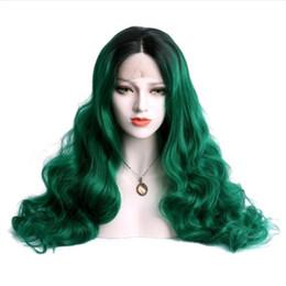 2019 perucas de cabelo rainha Moda Ombre Longa Onda Natural Preto para o Verde Peruca Dianteira Do Laço 2 Tons de Cabelo Da Fibra Sem Cola Perucas Sintéticas De Parto Meio Para Drag Queen perucas de cabelo rainha barato