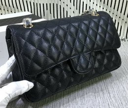 Wholesale Quilted Crossbody Bag - Famous designer brand new lambskin caviar leather jumpo double Flap Quilted crossbody shoulder Bag Cluth evening purse Messenger handbag