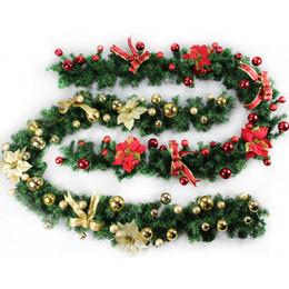 Decorazioni di albero di natale verde online-2 .7m (9ft) Ghirlande di Ghirlande di Ghirlanda di Ghirlande di Natale Verde Per Natale Albero di Capodanno Decorazione Festa di Natale