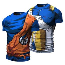 Bola de dragão z vegeta on-line-2018 Bola Z Homens 3D Dragon Ball Z T Camisa Estilo Vegeta Goku Verão 3D Encabeça Roupas de Moda T Plus
