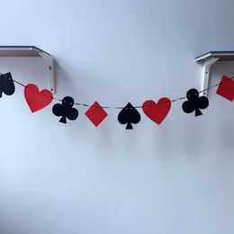 Wholesale Poker Signed - Casino Party Playing Cards Poker Pennant Bunting Flag Felt Banner Sign Birthday Hanging Decoration Free Shipping ZA5649