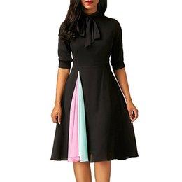 хорошее качество Женщины Повседневная Dress мода дамы Половина рукава Dress повседневная Fit и Flare O-образным вырезом вечернее платье до колен cheap fit flare knee length dresses от Поставщики платья для длинных колен