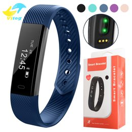 Wholesale Fitness Wristbands - 115 HR Smart Bracelet Fitness Heart Rate Tracker Step Counter Activity Monitor Band Alarm Clock Vibration Wristband With DayDay APP