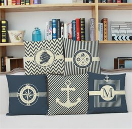 Wholesale Composite Case - Pure and fresh ocean style pillow cases Anchor boat rudder pattern composite linen pillowcase Students office nap pillows cushion cover