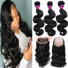 Wholesale Cheap Unprocessed Hair - Brazilian Straight & Body Wave 3 Bundles With 360 Full Lace Closure Cheap Human Hair Unprocessed Brazilian Hair With Lace Closure Body Wave