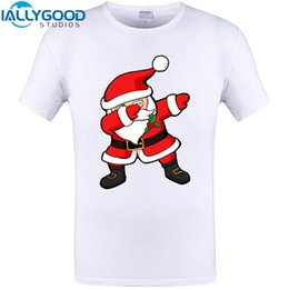 Wholesale Plus Size Christmas Shirts - Wholesale-Funny Dabbing Santa Christmas Funny Design T-Shirt Summer Short Sleeve Tops New Arrival Casual Cotton Tee Shirts Plus Size