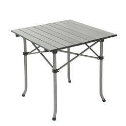 metal chair stool Promo Codes - Aluminum frame and MDF tabletop metal folding table chairs for camping picnic BBQ prep with Folding Table Chair Stools Set