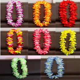 Wholesale Hawaiian Hula - 100cm Flower Hawaiian Beach Party Hula Garland Leis Necklace Lei Birthday Party Supplies Wedding Favors 8color