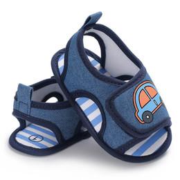 2019 zapatos azules de coche Zapatos para bebés recién nacidos para bebés Infant Toddler Car Calzado de cuna impresa Azul verano Suela blanda First Walker Prewalkers Zapatos de moda zapatos azules de coche baratos