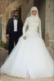 Arabe Islamique Musulman Une Ligne Robes De Mariée Dit Mhamad Dentelle Hiver Robes De Mariée À Manches Longues Col Haut À Manches Longues Robes De Mariée Perlées ? partir de fabricateur